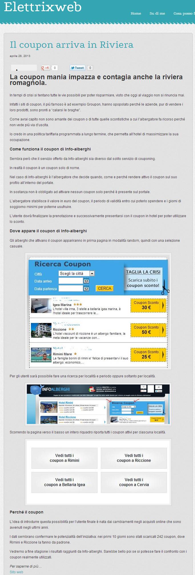 recensione coupon di ElettrixWeb