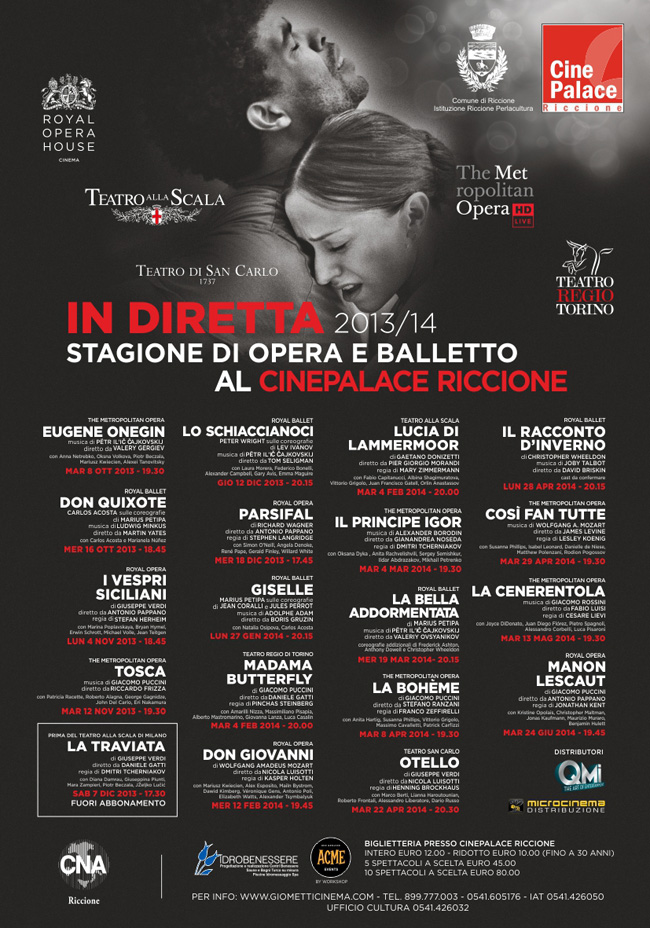 Locandina della stagione teatrale del CinePalace di Riccione
